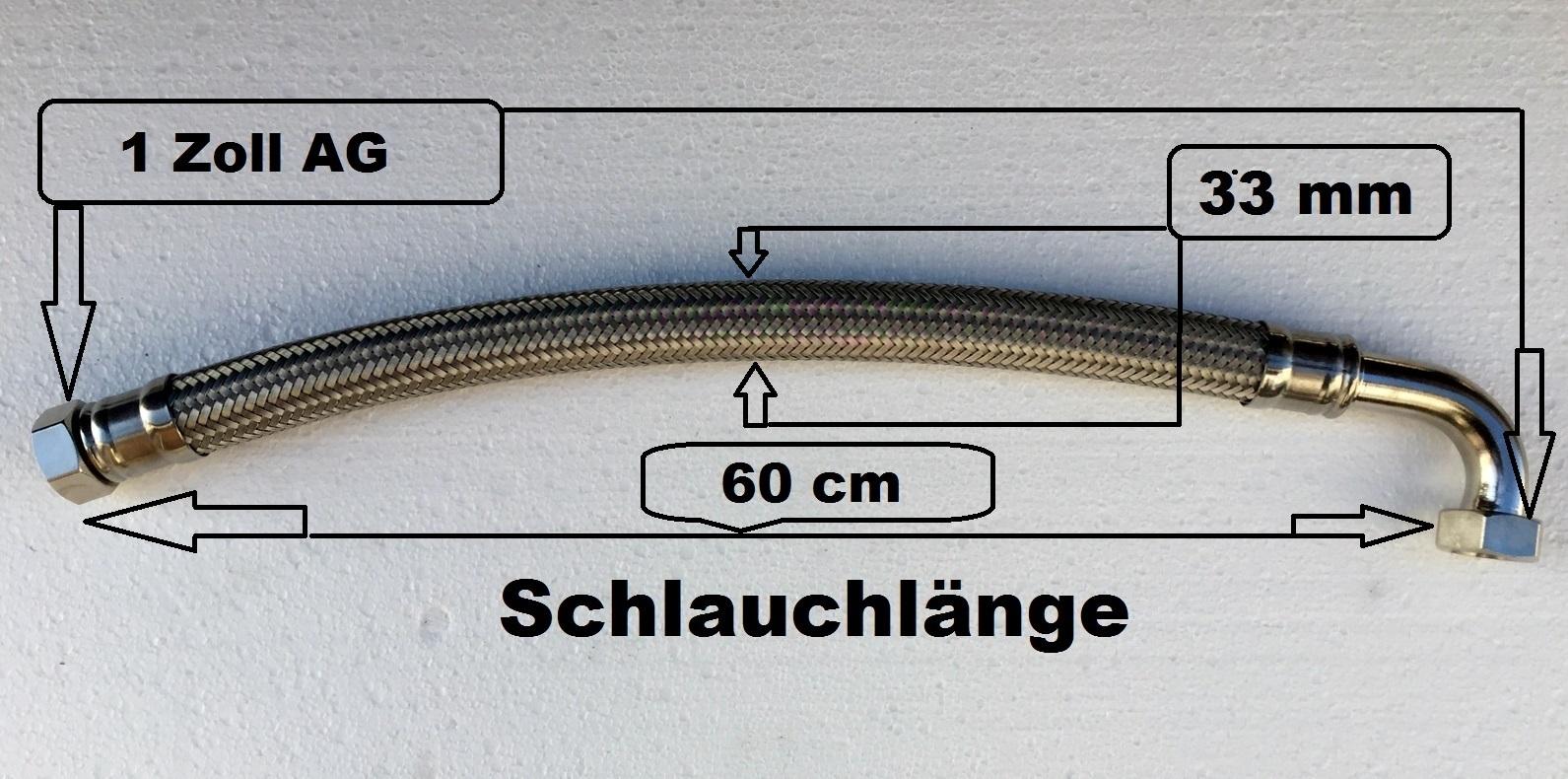 Flexschlauch 90° Bogen Panzerschlauch 1 Zoll 60 cm Edelstahl